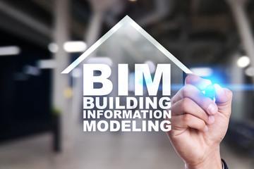 Wall Mural - BIM - Building information modeling on virtual screen.