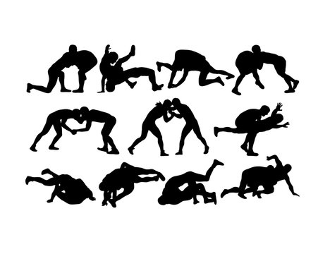Jiu-jitsu and judo wrestlers vector silhouettes