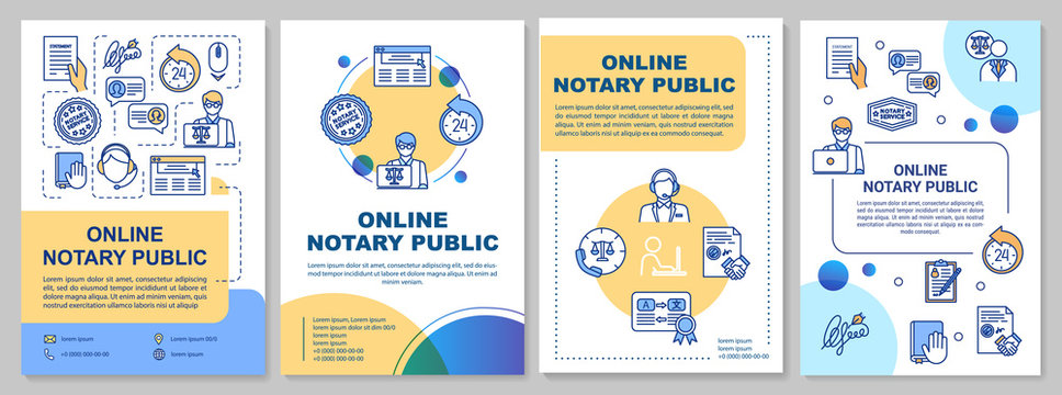 Online notary public brochure template. Professional legal consultation. Flyer, booklet, leaflet print, cover design with linear icons. Vector layout for magazines, annual reports, advertising posters