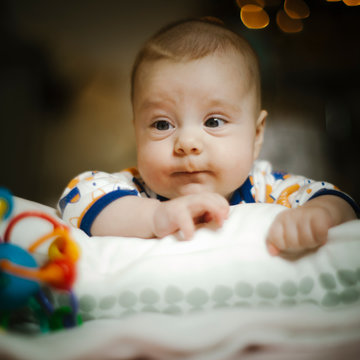 Close up portrait, newborn baby boy