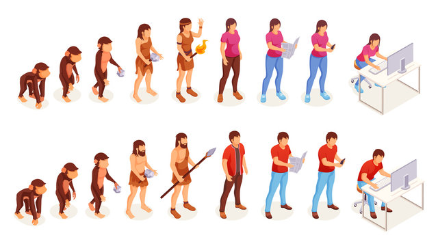 Human evolution, vector icons of man and woman from ape monkey to office worker. People evolution process from caveman primitives to modern life