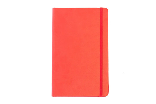 Red closed notebook mockup isolated on white background.