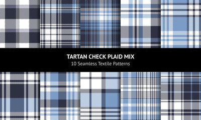 Seamless plaid set. Tartan check plaid graphic in blue and white for flannel shirt, blanket, skirt, throw, upholstery, duvet cover, or other modern fabric design.