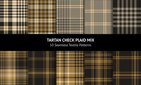 Plaid pattern set. Seamless vector texture. Tartan check plaid background in nearly black and gold for flannel shirt, skirt, blanket, throw, jacket, dress, or other modern clothing design.