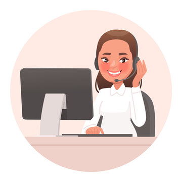 Operator, friendly support service specialist. Support phone or hotline. Call center employee, woman in headset