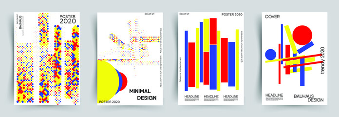 Set of covers. Abstract geometric design with various colorfuls shapes in the bauhaus style. This is design for book, cover, leaflet and other ideas. Eps 10