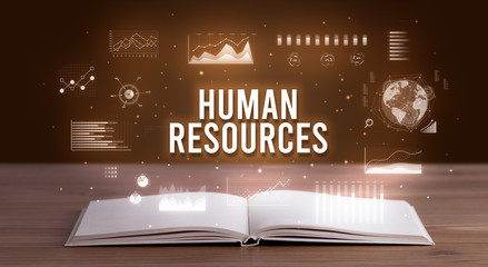 HUMAN RESOURCES inscription coming out from an open book, creative business concept Wall mural