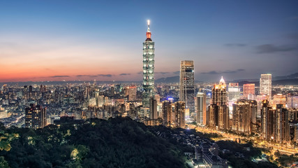 Wall Mural - Taipei city viewed from the hill at sunset, Taiwan