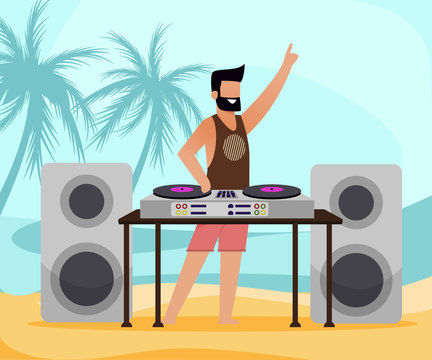 Bearded DJ with Equipment on Tropical Sand Beach with Palm Trees. Flat Cartoon MAle Disk Jockey Character Loudspeakers, Subwoofer, Turntables and Mixer. Dance Music Open Air Party Vector Illustration