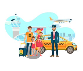 Airport Transfer, Shuttle Services Flat Vector. Happy Taxi Driver Meets Family with Luggage Isolated Cartoon Characters. Cab Chauffeur and Passengers Stand near Terminal. Cityscape. Illustration