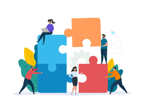 Teamwork concept with building puzzle. People working together with giant puzzle elements. Symbol of partnership and collaboration. Flat vector illustration isolated on white background.