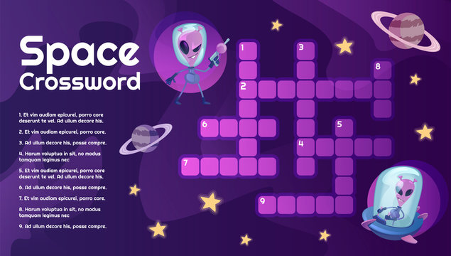 Space crossword with cartoon character template. Cosmos, Universe, planets and UFO educational kids game with questions. Celestial bodies and extraterrestrial printable flat vector layout