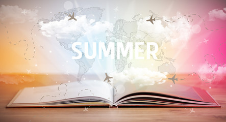 Open book with SUMMER inscription, vacation concept