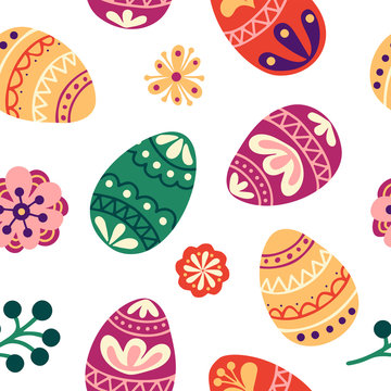 Floral easter seamless pattern. Holiday background with eggs, flowers and leaves. Vector illustration