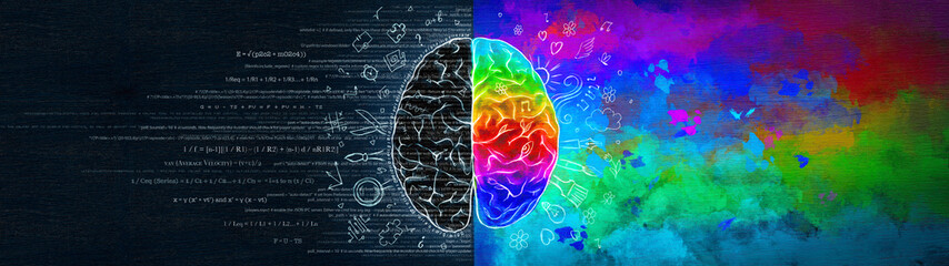 The Difference in the Work of the Right and Left Hemispheres of the Brain. Analytical Thinking Versus Abstract. Ultrawide Illustration. Fotomurales