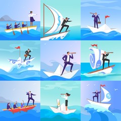 Fototapeta Businessman people on paper boats vector illustration. Businessman and businesswoman on paper boat risk, searching and lead the team to result. Teamwork, leadership concept flat style. Boss and team.