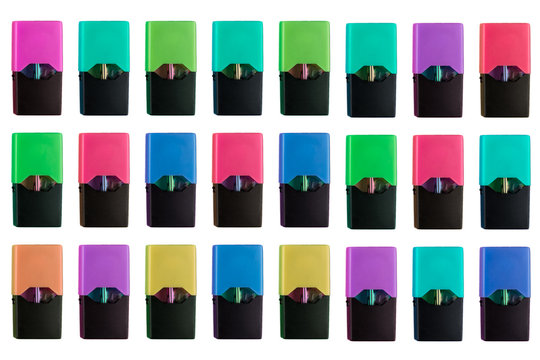 Colorful and flavoured multiply colored and flavoured juul pods isolated on white background. E cigarette, smoke and nicotine concept.