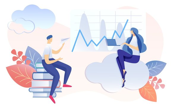 Cartoon Woman Work on Notebook. Man Sitting on Book Stack Launching Paper Plane Vector Illustration. Finance Report Analysis Profit Graphic Growth. Time Management Productivity Boost Strategy