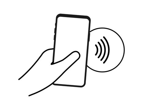 Contactless wireless pay sign logo. NFC technology. Vector stock illustration.