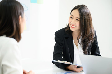 Job interview, We are hiring, Human resource and recruitment concept. Beautiful young asian businesswoman talking applicant people Fotomurales