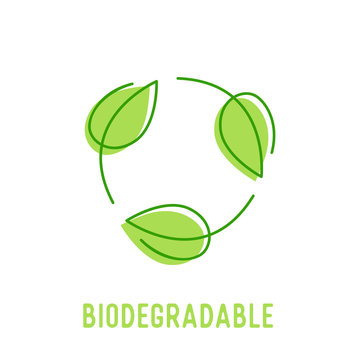 Biodegradable Symbol with Circulate Rotating Green Leaves. Compostable Recyclable Plastic Package Icon with Doodle Drawing Bio Degradable Label for Poster Banner Flyer Brochure Vector Illustration