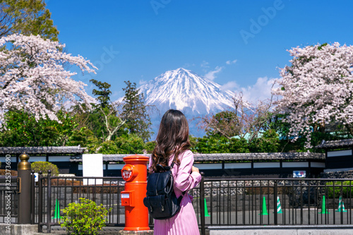 Wall mural Tourist looking at Fuji mountain and cherry blossom in spring, Fujinomiya in Japan.