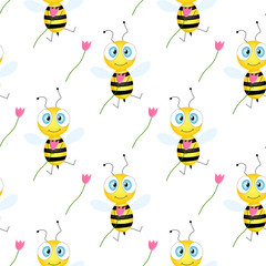 Aluminium Prints Butterflies Seamless pattern with bees and flowers on white background. Vector illustration. Adorable cartoon character. Template design for invitation, cards, textile, fabric. Doodle style. Bee with tulip.