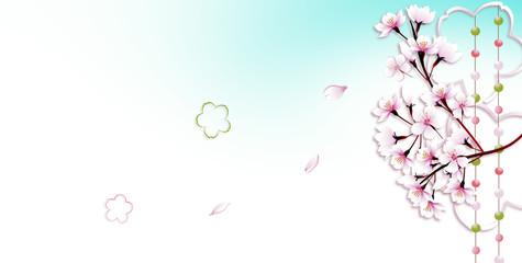 桜の花と玉すだれに桜型のオブジェのイラストバナー素材