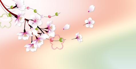 桜の花に玉飾りと桜型のオブジェのイラストアート上部レイアウトバナー素材