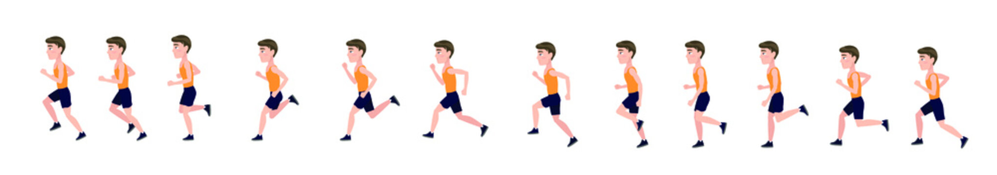 Running man. Cycle of animation for men's running, 2d cartoon character.