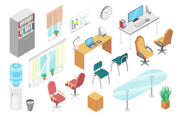 Office furniture isometric set, isolated on white, desk and chair for modern workspace, vector illustration. Comfortable furniture for office, window, drawer and computer. Interior design constructor