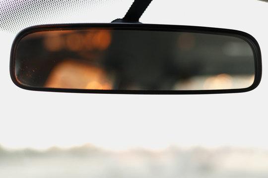 Rear view mirror with orange light