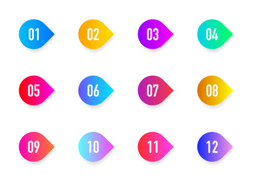 Collection arrows bullet point triangle flags isolated on white background. Colorful gradient markers. Number from 1 to 12. Vector
