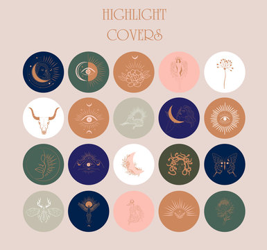 Collection of Abstract various vector highlight covers with astrology objects, fantasy animals, mythical creature, esoteric and boho objects,  for social media stories. Editable vector illustration