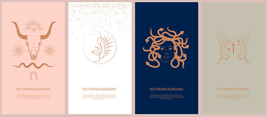 Set of mythology and mystical illustrations for Mobile App, Landing page, Web design in hand drawn style. Mythical creature, esoteric and boho minimalistic objects one line style. Vector illustration Wall mural