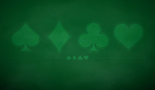 Poker table background in green color.