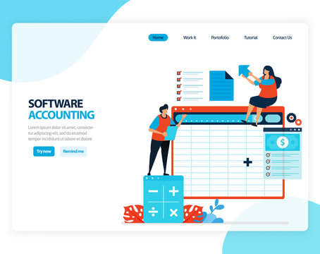 Vector illustration of accounting software. spreadsheets for easy calculation of accounting balance. Flat cartoon for landing page, template, ui ux, web, website, mobile app, banner, flyer, brochure