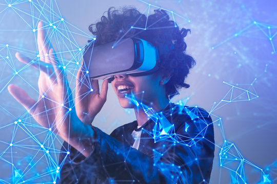 Ethnic woman exploring virtual reality