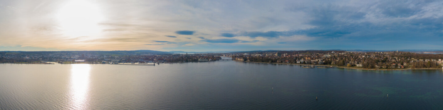 Panorama von Konstanz am Bodensee - Panorama from(Lake of) Constance