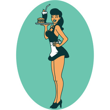 tattoo style icon of a pinup waitress girl