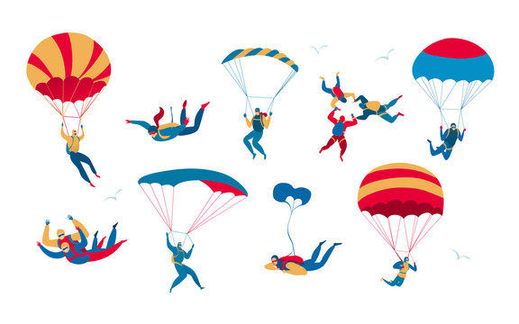 People skydiving and jumping with parachute, extreme sport set, isolated on white, vector illustration. Men and women with parachutes in the sky, active leisure and extreme sport skydiving hobby set