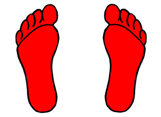 Illustration of a pair of red footprints