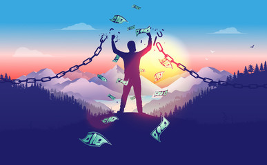Break the chains to accomplish financial freedom. Man breaking free in sunrise with money raining down, breaking chains, winner, entrepreneur, powerful financial man concept. Vector illustration.