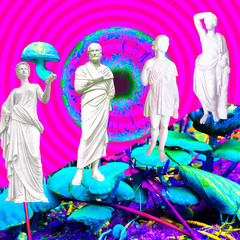 Contemporary art collage.Psychedelic, Hallucination,Mushrooms greek party
