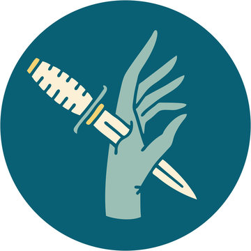 tattoo style icon of a dagger in the hand