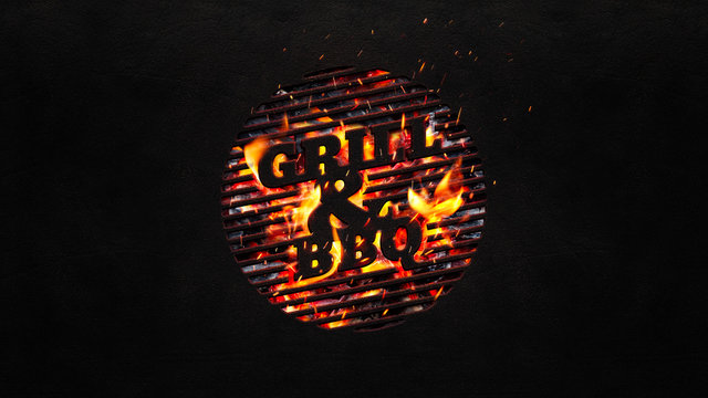 Grill and bbq background with copy space. Black background with a symbolic grill plate.
