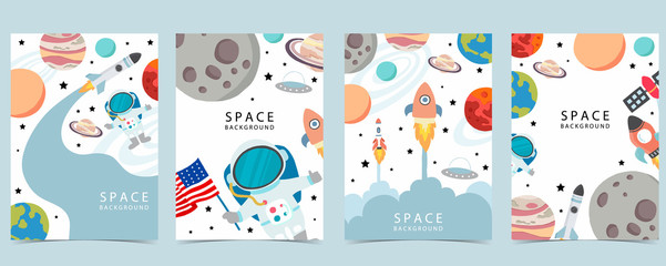 Lamas personalizadas con tu foto Collection of space background set with astronaut, planet, moon, star,rocket.Editable vector illustration for website, invitation,postcard and sticker