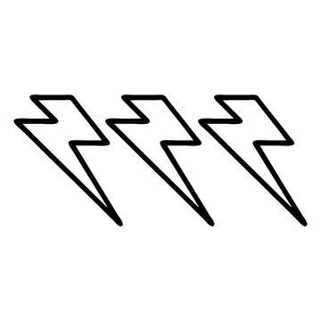 black line tattoo of lightning  bolts