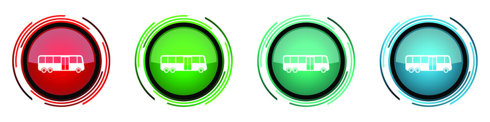Fotomurales - Bus round glossy vector icons, set of buttons for webdesign, internet and mobile phone applications in four colors options isolated on white background