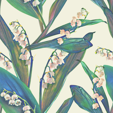 Lily of the valley seamless pattern. Watercolor Background.